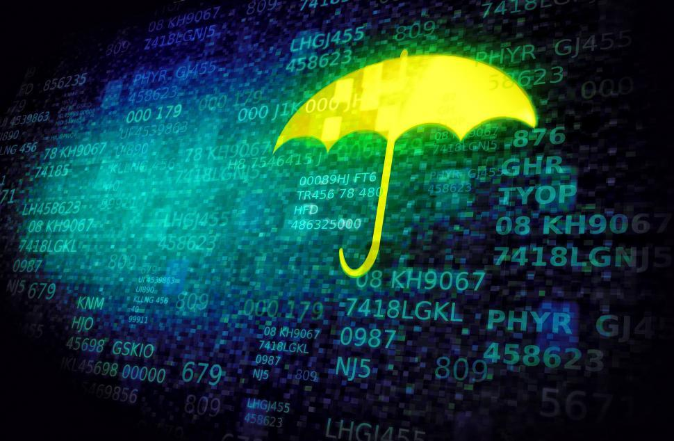 Download Free Stock HD Photo of Web and cyber security concept with umbrella on data screen Online