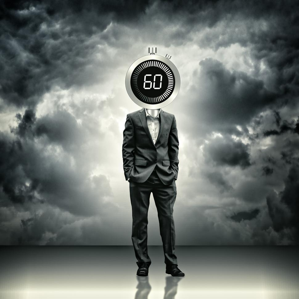 Download Free Stock HD Photo of Businessman with stopwatch head - Time concept Online
