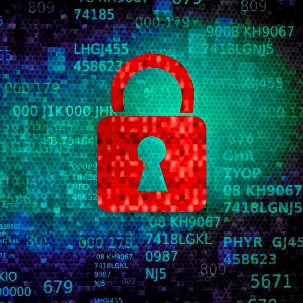 Download Free Stock Photo of Cyber security concept with red padlock on data screen