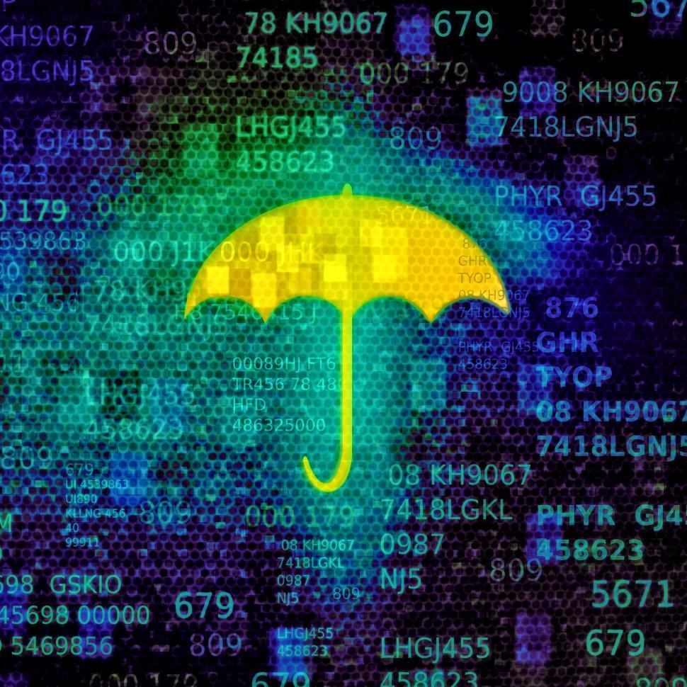 Download Free Stock HD Photo of Cyber security concept with umbrella on data screen Online