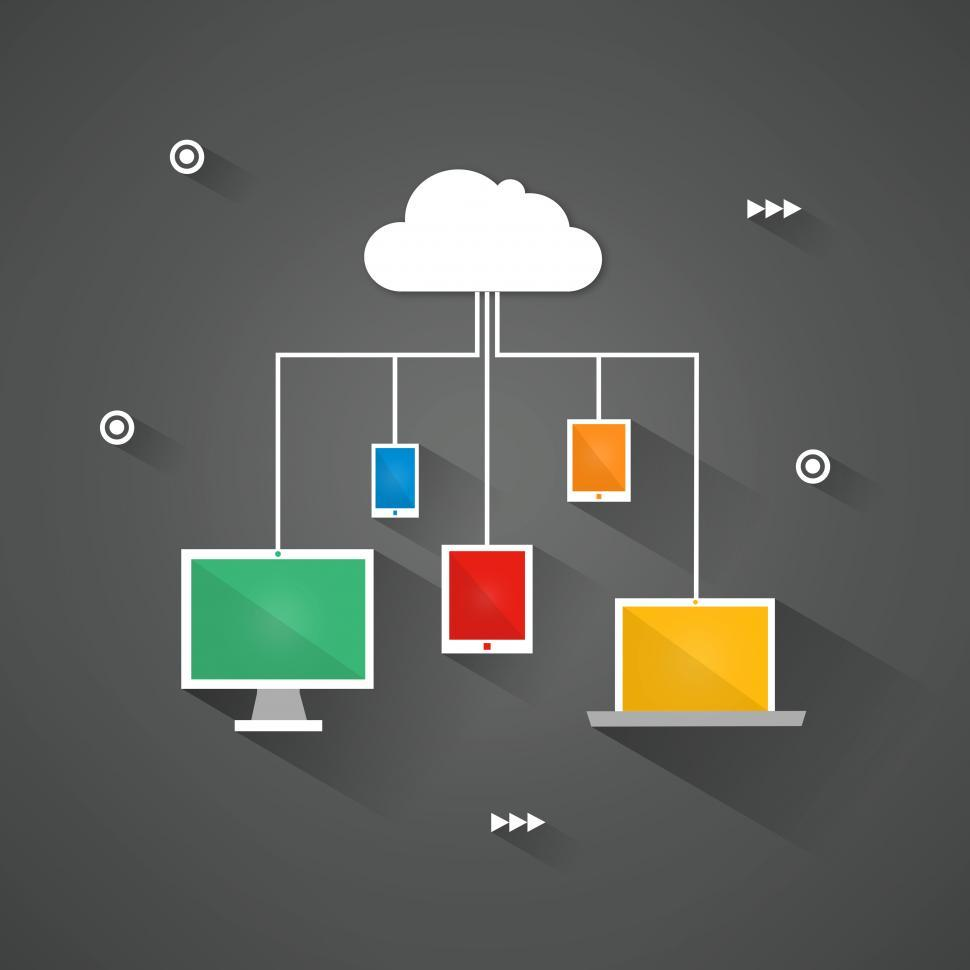 Download Free Stock HD Photo of Digital devices connected to the virtual cloud Online