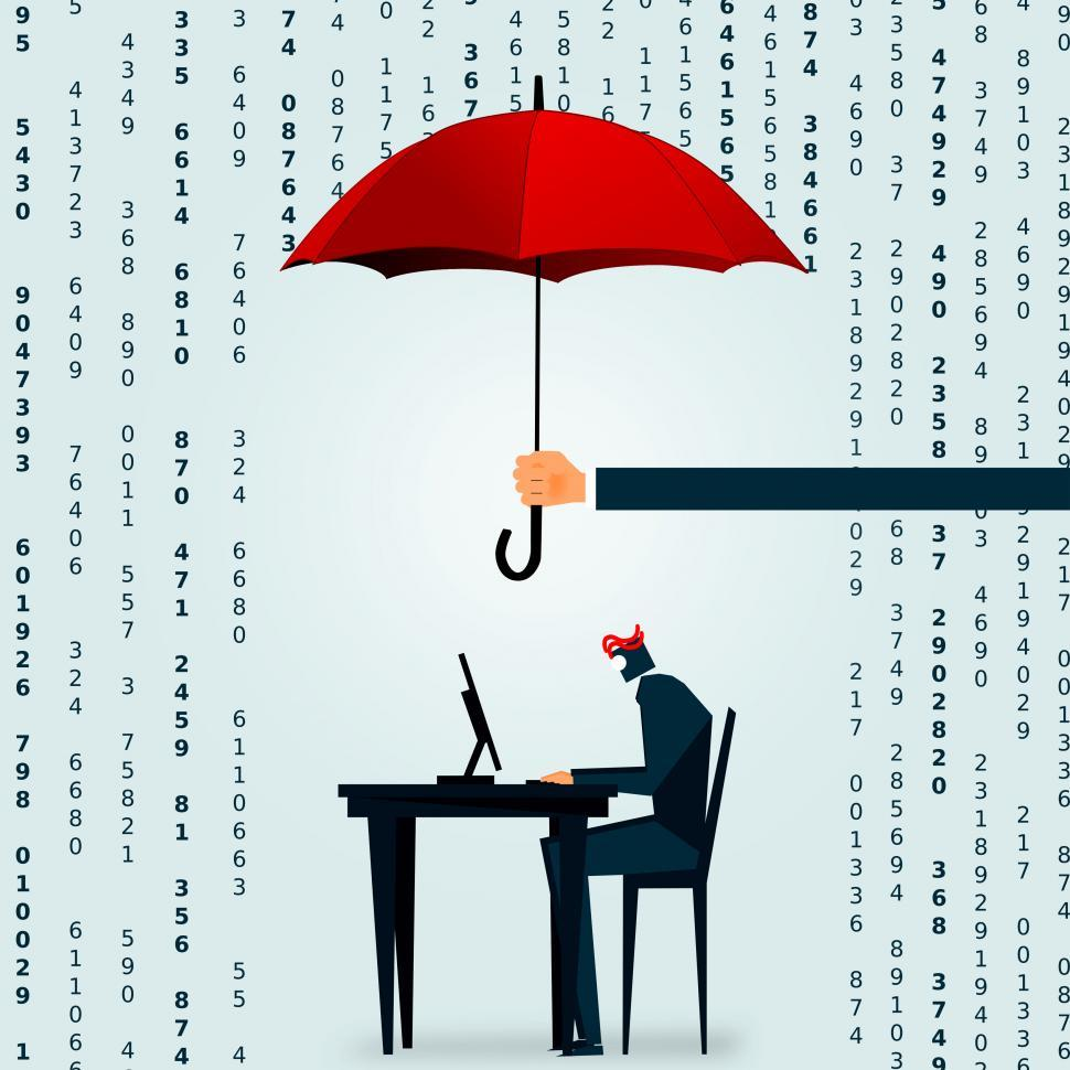 Download Free Stock Photo of The Big Data deluge - A businessman tries to crunch the numbers
