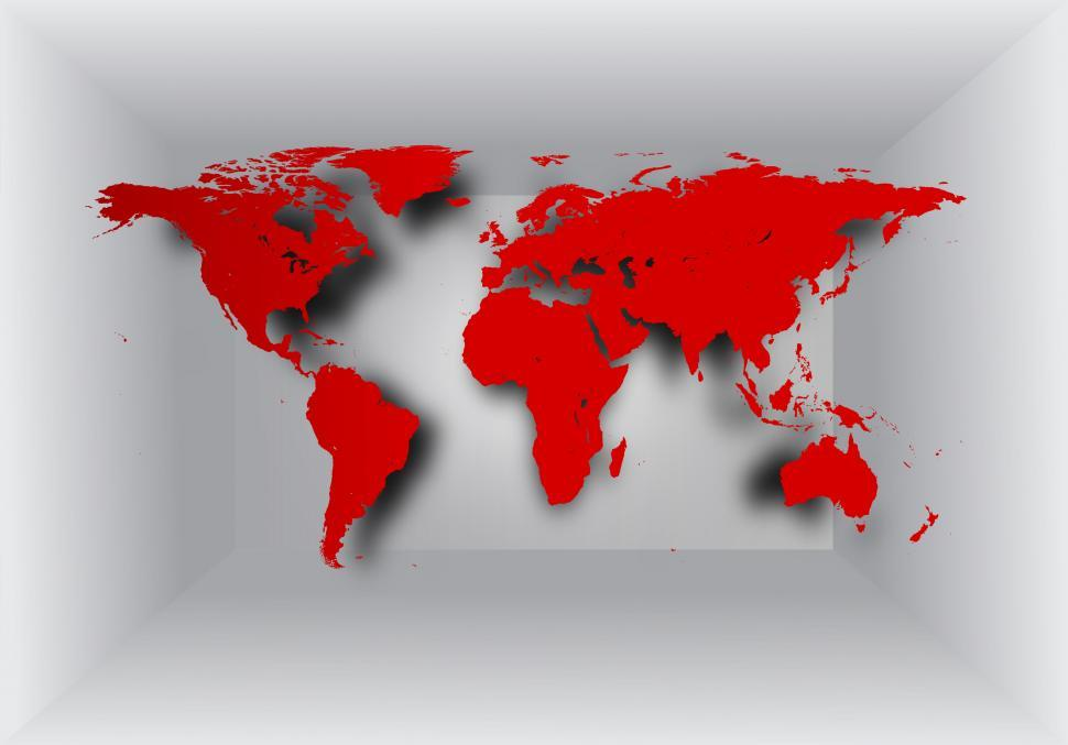 Download Free Stock Photo of World map on 3D background