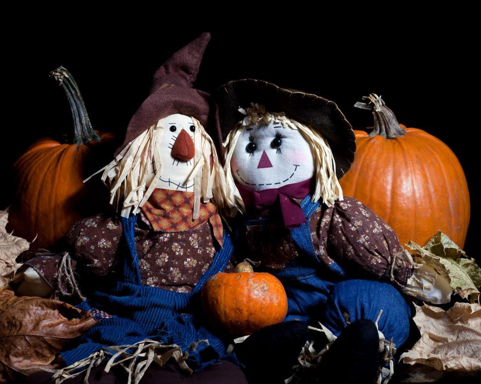 Download Free Stock Photo of Pumpkins and Dolls