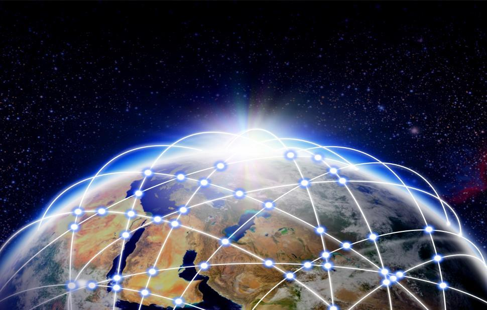 Download Free Stock Photo of Global transport and communication - The Earth surrounded by hub