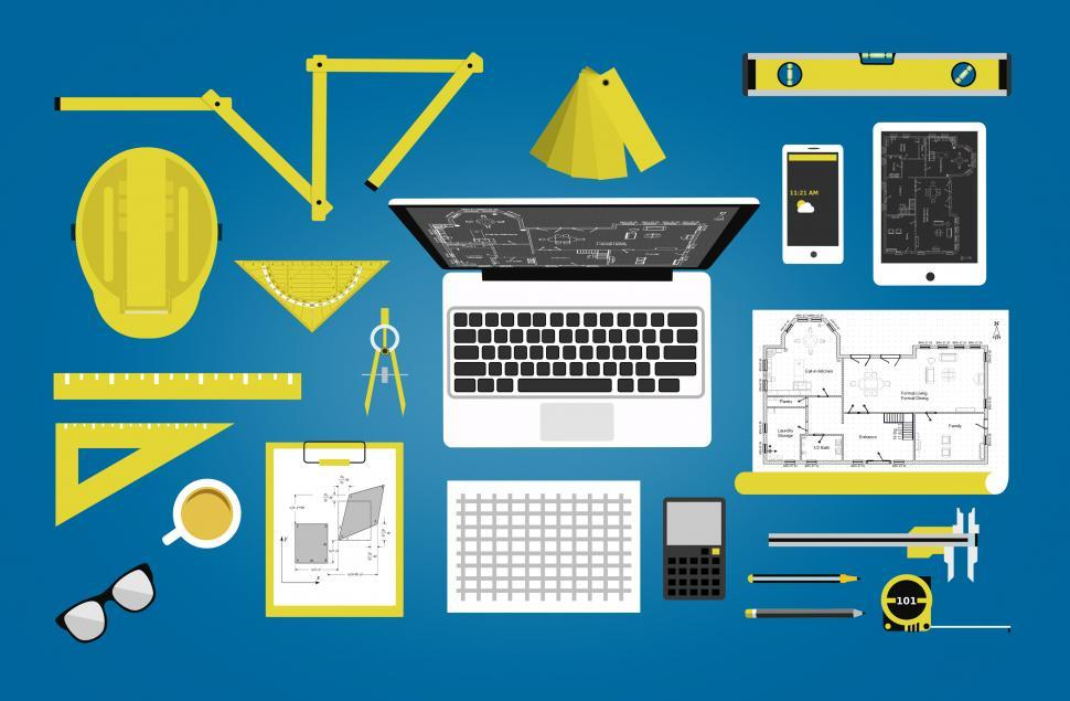 Download Free Stock Photo of Engineer or architect desk - Technical profession concept