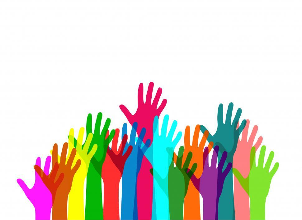 Download Free Stock HD Photo of Colorful hands raised in happiness Online