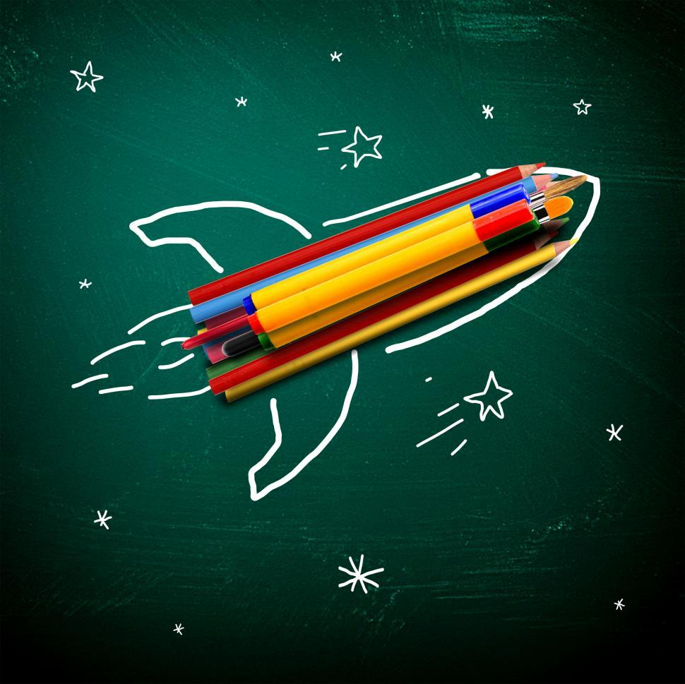 Download Free Stock Photo of School stationery on a rocket - School and learning concept