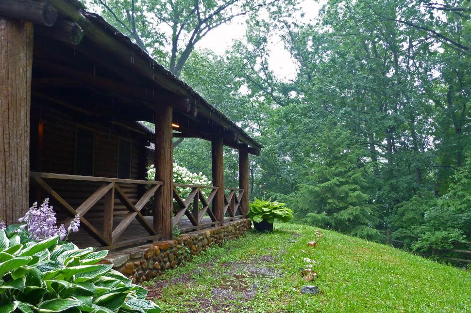 Download Free Stock HD Photo of Log Cabin Porch At Rutgers Gardens Grounds Online