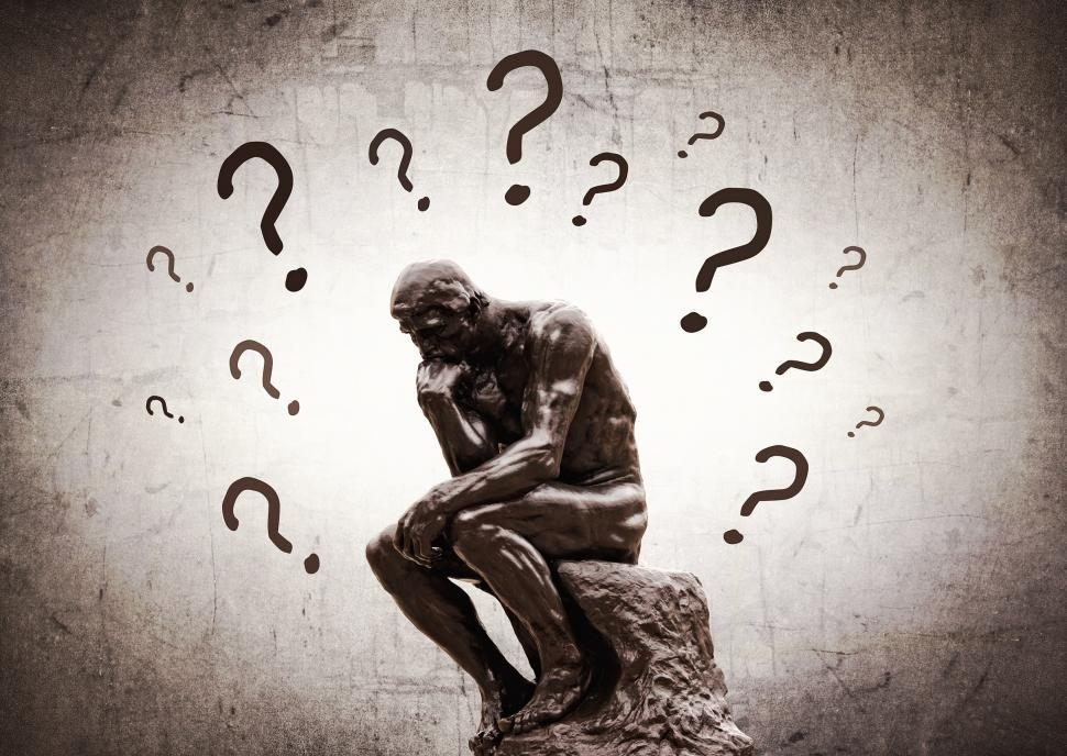 Download Free Stock HD Photo of Rodins Thinker surrounded by question marks Online