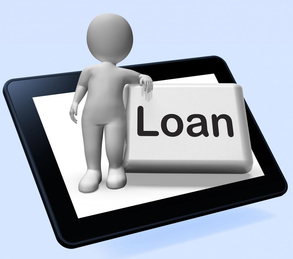 Download Free Stock HD Photo of Loan Button Tablet With Character  Means Lending Or Providing Ad Online
