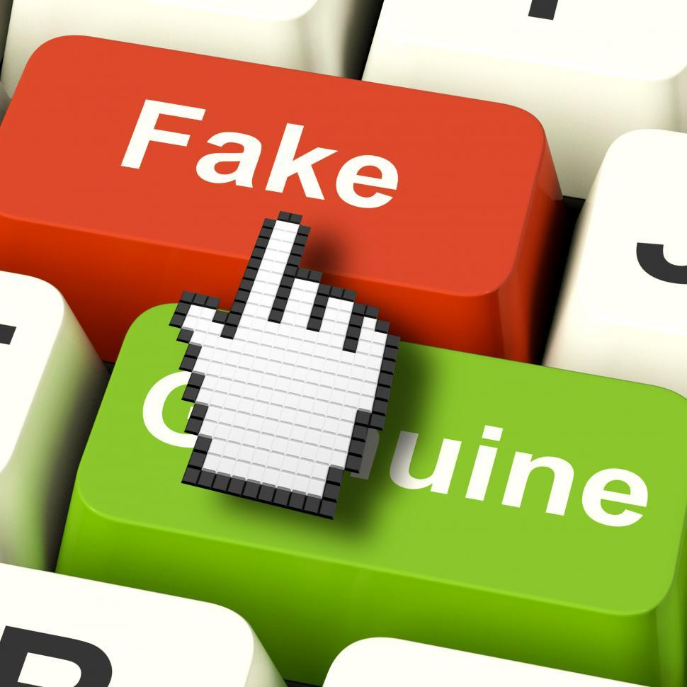 Download Free Stock HD Photo of Fake Computer Means Artificial or Faked Product Online