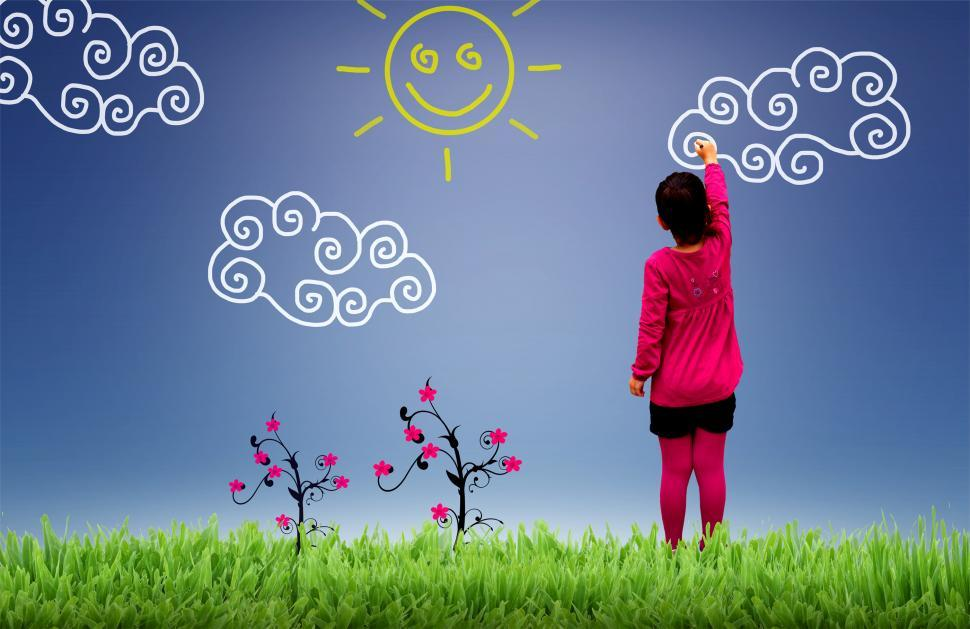 Download Free Stock Photo of Little girl painting the sky - Child joy and happiness concept