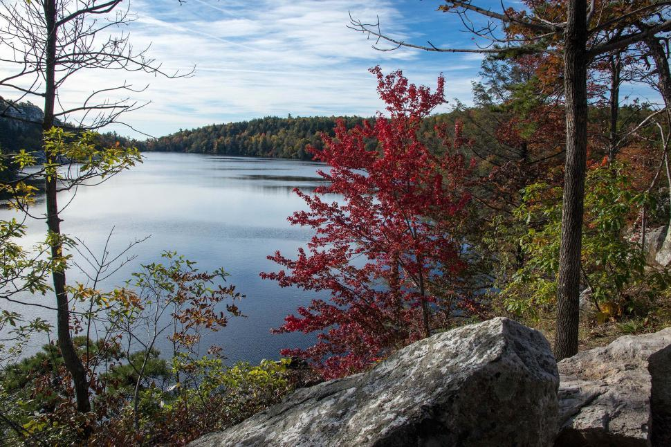 Download Free Stock Photo of Lake Minnewaska In Autumn Colors