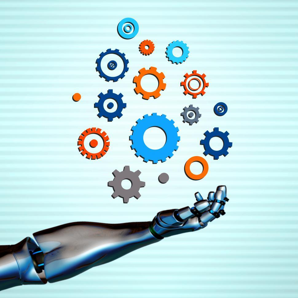 Download Free Stock Photo of Robotic arm with gears - Automation and artificial intelligence