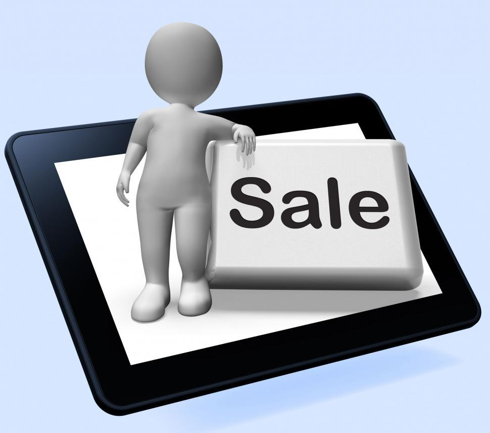 Download Free Stock HD Photo of Sales Button With Character Tablet Shows Promotions And Deals Online