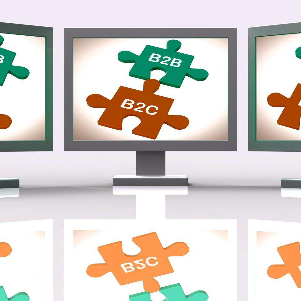 Download Free Stock HD Photo of B2B And B2C Puzzle Screen Shows Corporate Partnership Or Consume Online