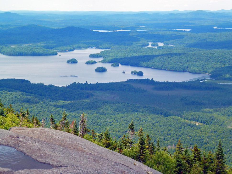 Download Free Stock Photo of Middle Saranac Lake from Ampersand Mountain