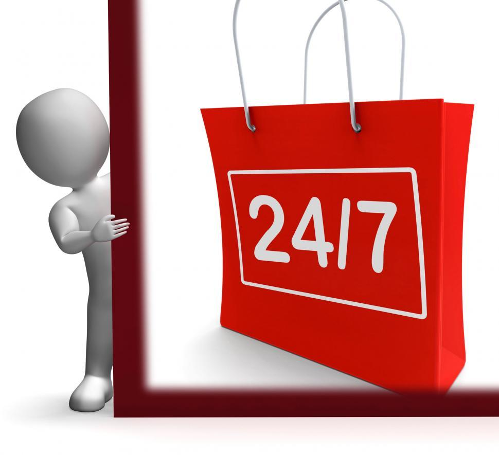Download Free Stock Photo of Twenty Four Seven Shopping Sign Shows Open 247