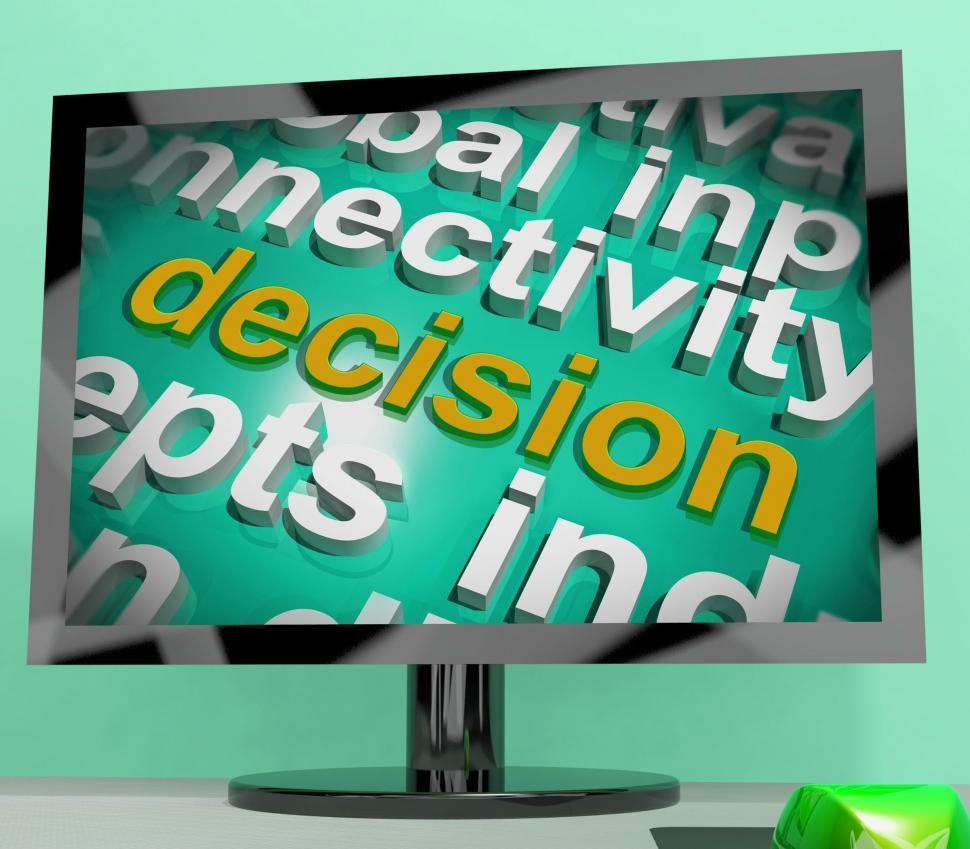 Download Free Stock Photo of Decision Word Cloud Screen Shows Choice Or Decide