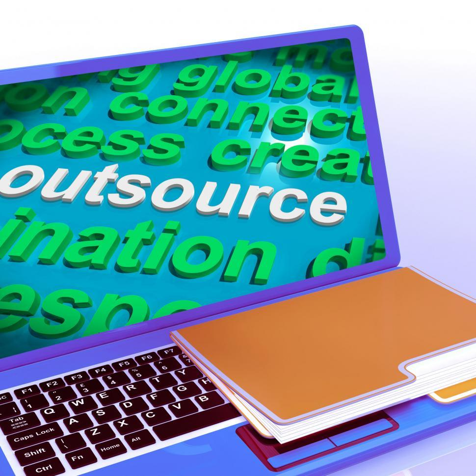 Download Free Stock HD Photo of Outsource Word Cloud Laptop Shows Subcontract And Freelance Online
