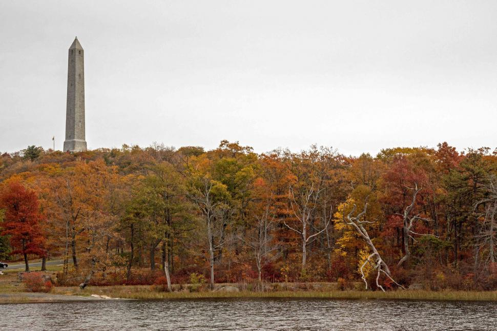 Download Free Stock Photo of High Point Monument From Shore Of Lake Marcia