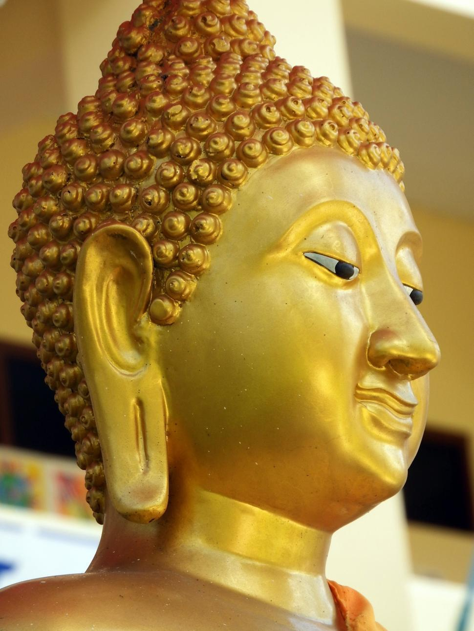 Download Free Stock Photo of Golden Buddha Face 2