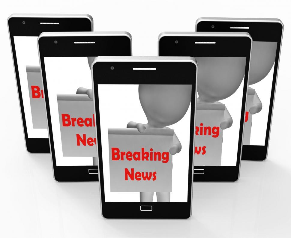 Download Free Stock Photo of Breaking News Sign Shows Up-To-Date Media Coverage