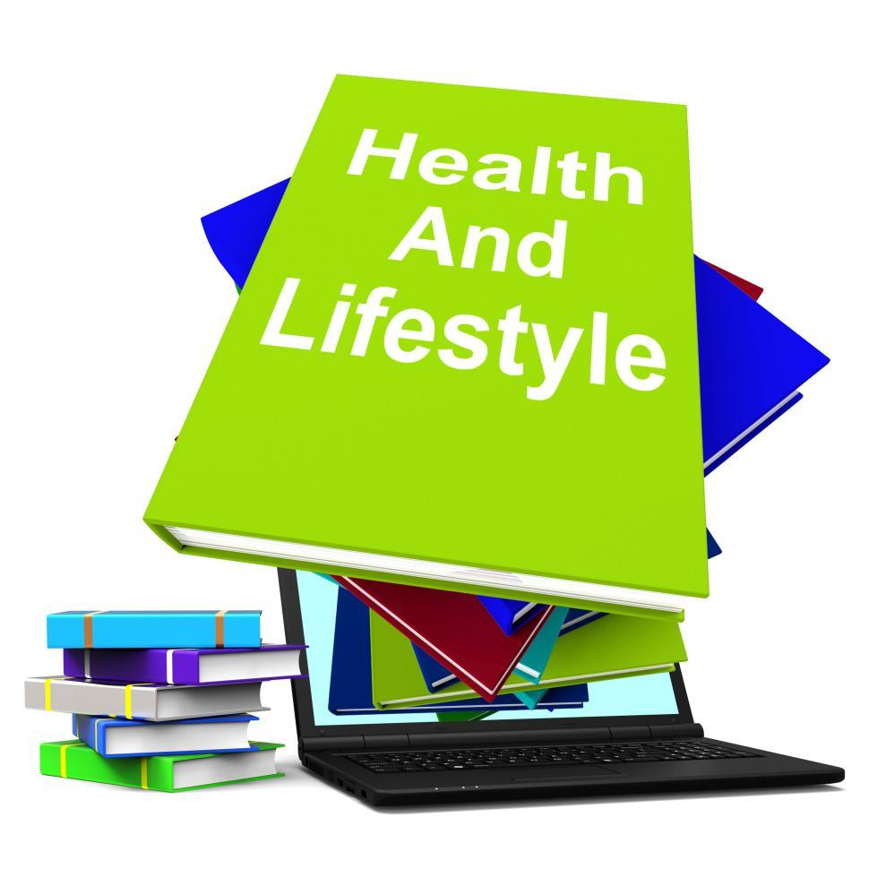 Download Free Stock Photo of Health and Lifestyle Book Stack Laptop Shows Healthy Living