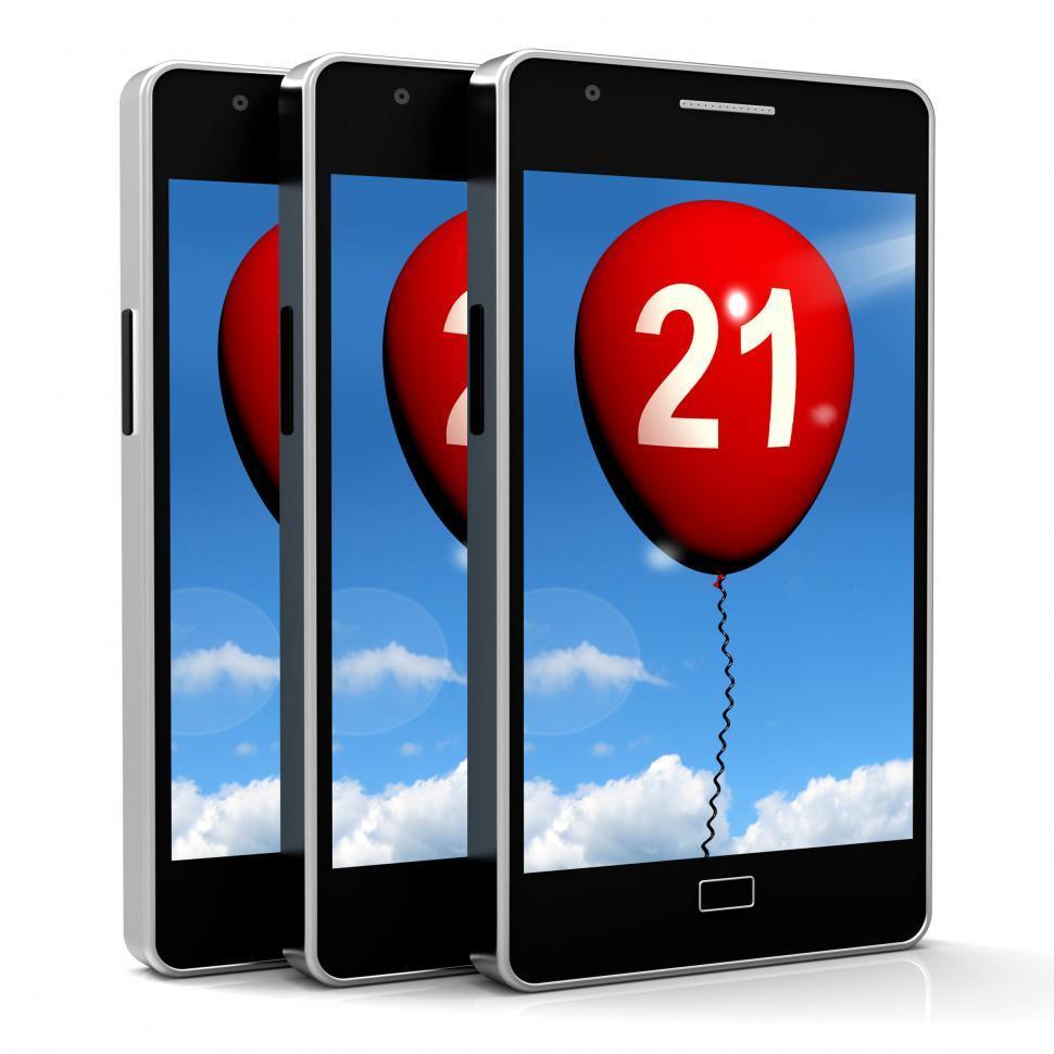 Download Free Stock Photo of 21 Balloon Phone Shows Twenty-first Happy Birthday Celebration