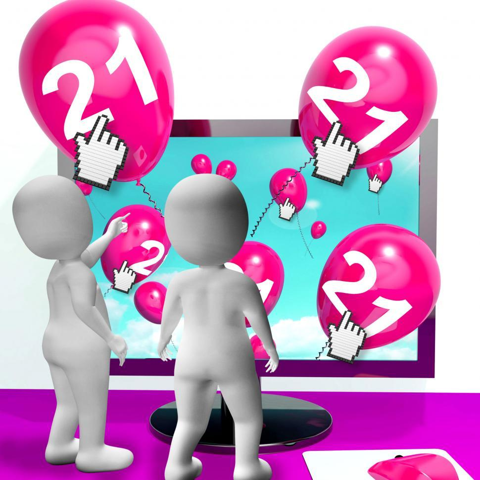 Download Free Stock Photo of Number 21 Balloons from Monitor Show Internet Invitation or Cele