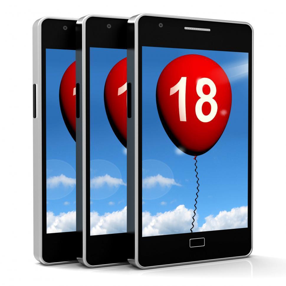 Download Free Stock Photo of Balloon Phone Represents Eighteenth Happy Birthday Celebration