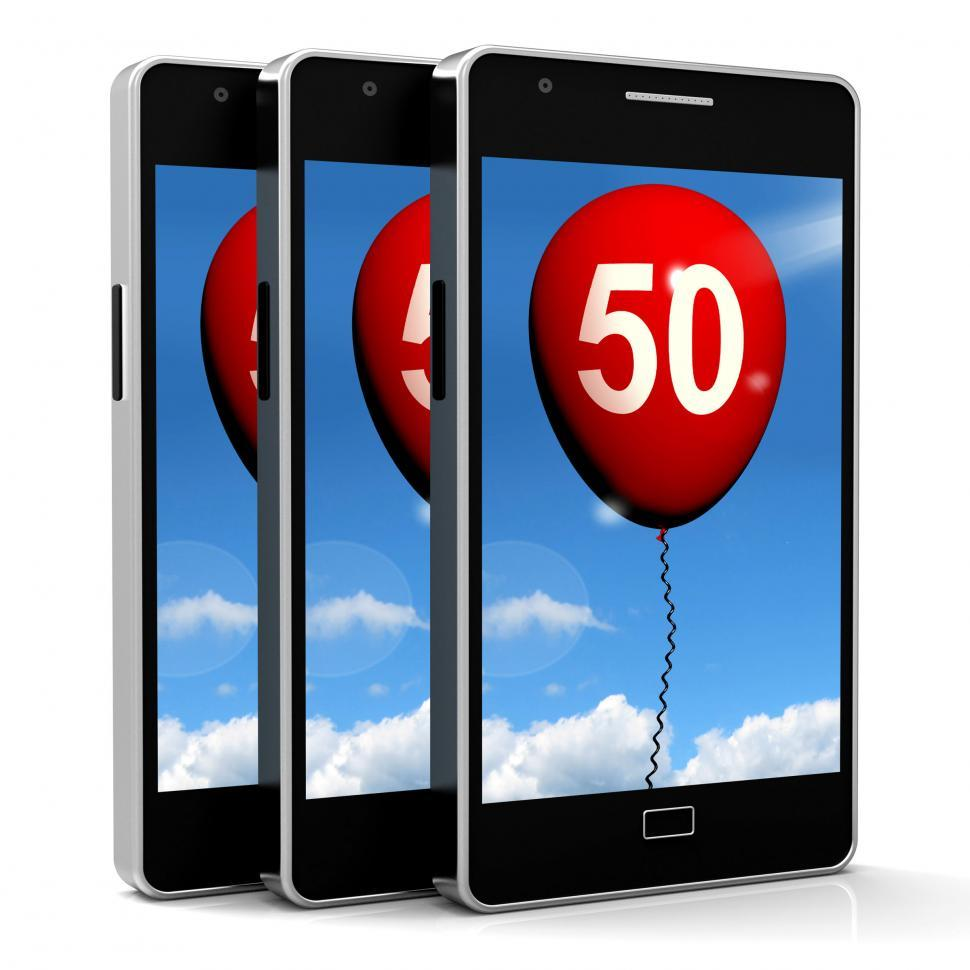 Download Free Stock Photo of Balloon Shows Fiftieth Happy Birthday Celebration