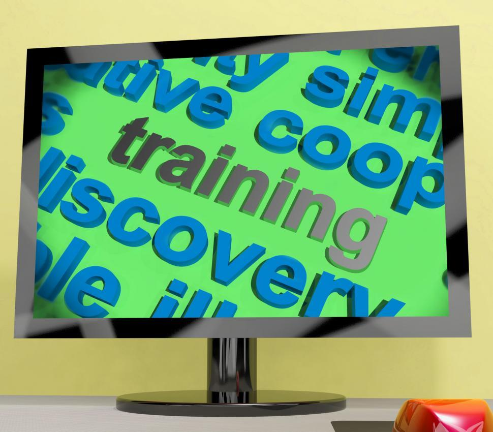 Download Free Stock Photo of Training Word Screen Shows Education Apprenticeship Or Up skilli