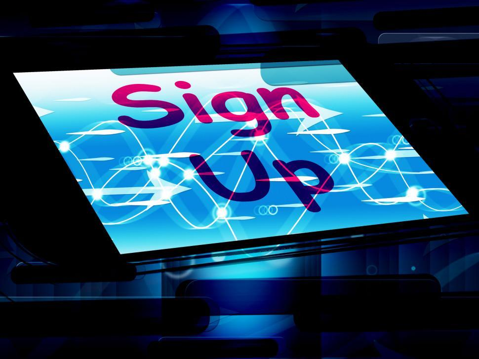 Download Free Stock HD Photo of Sign Up On Screen Shows Join Membership Register Online