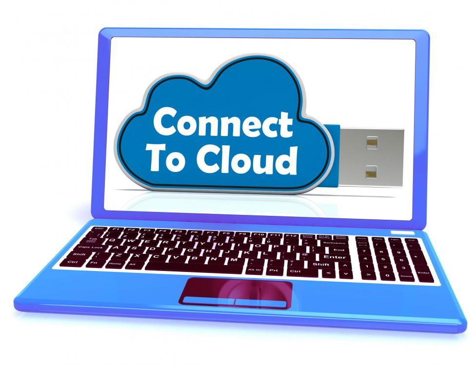 Download Free Stock Photo of Connect To Cloud Memory Means Online File Storage