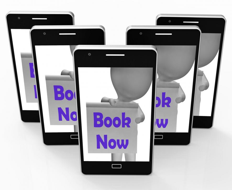 Download Free Stock HD Photo of Book Now Phone Shows Make Appointment Or Reservation Online