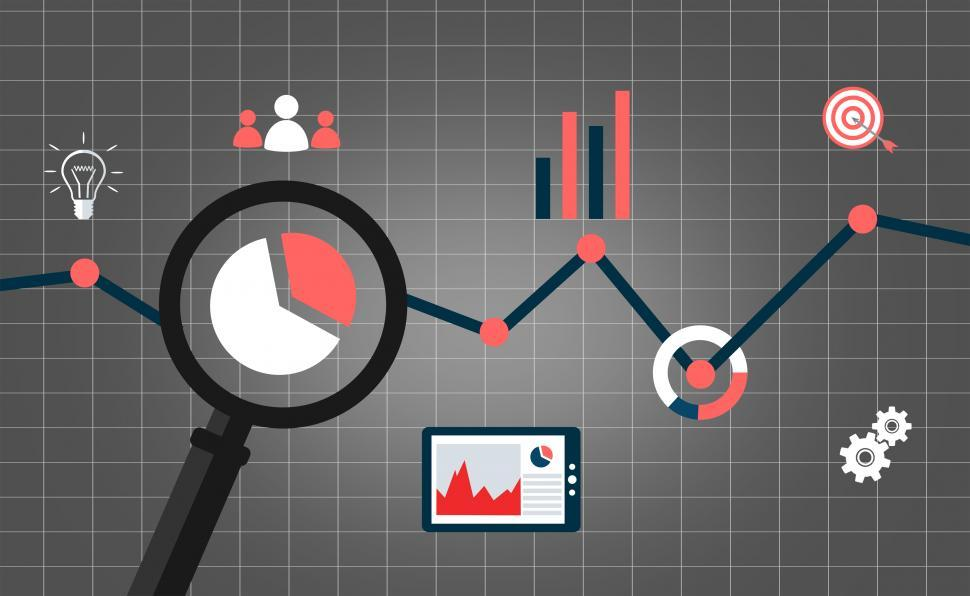 Download Free Stock Photo of Web analytics concept with data icons