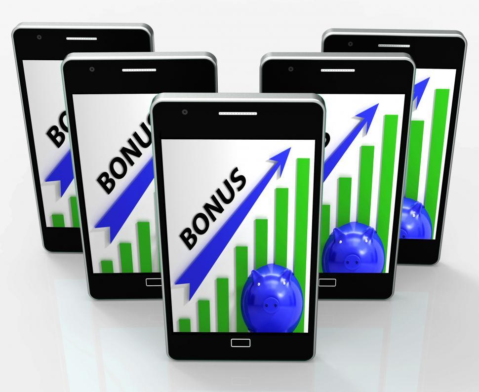 Download Free Stock HD Photo of Bonus Graph Phone Shows Incentives Rewards And Premiums Online