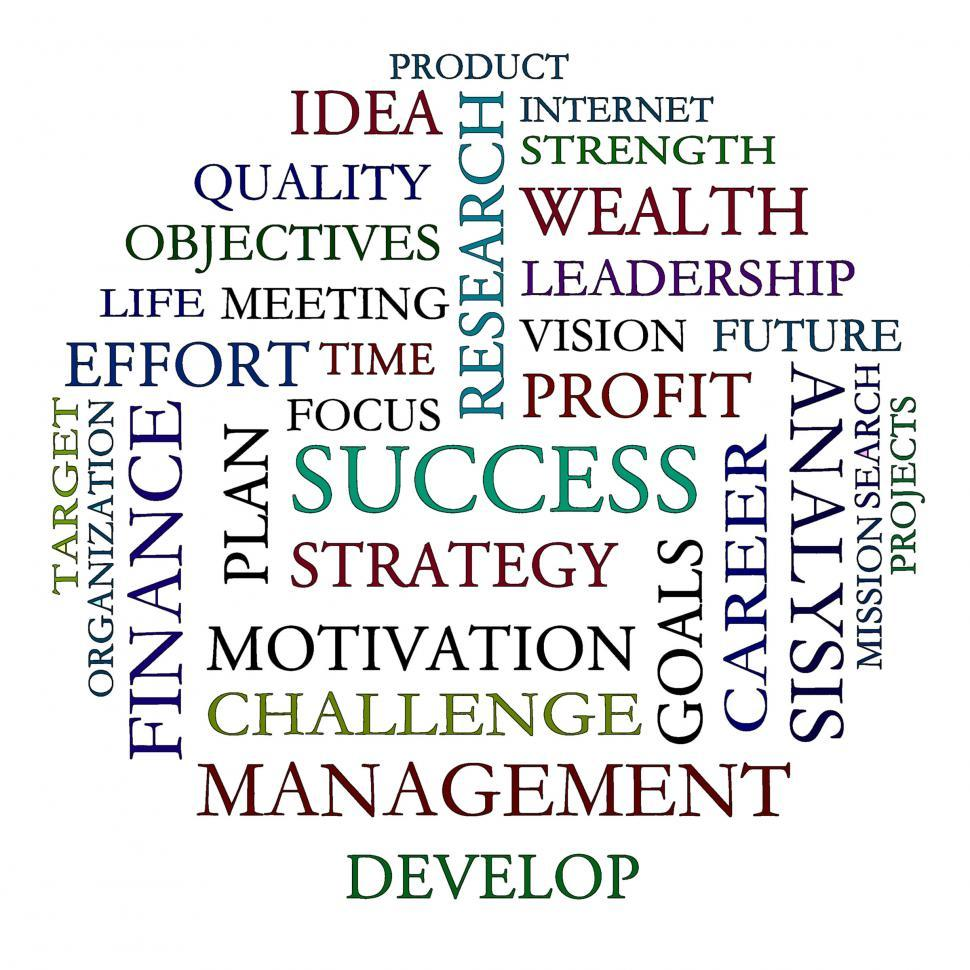 Download Free Stock Photo of Word Cloud Shows Road To Success
