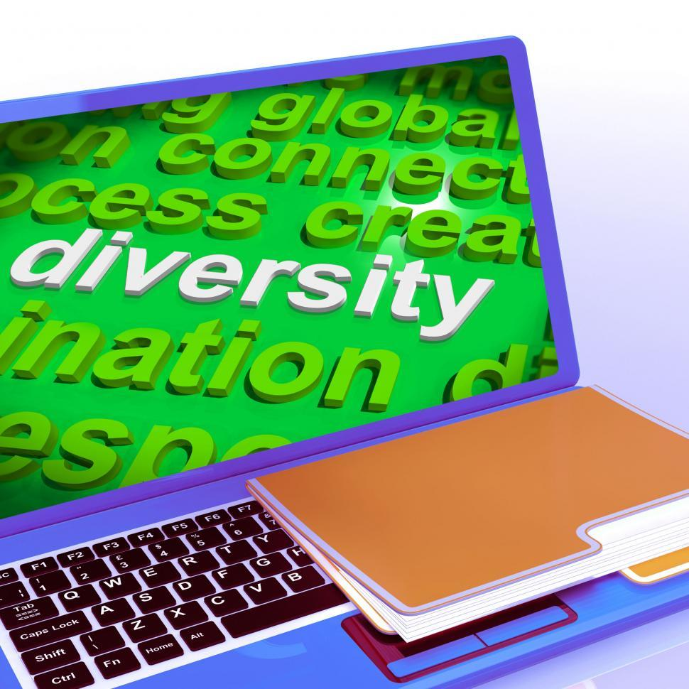 Download Free Stock Photo of Diversity Word Cloud Laptop Shows Multicultural Diverse Culture