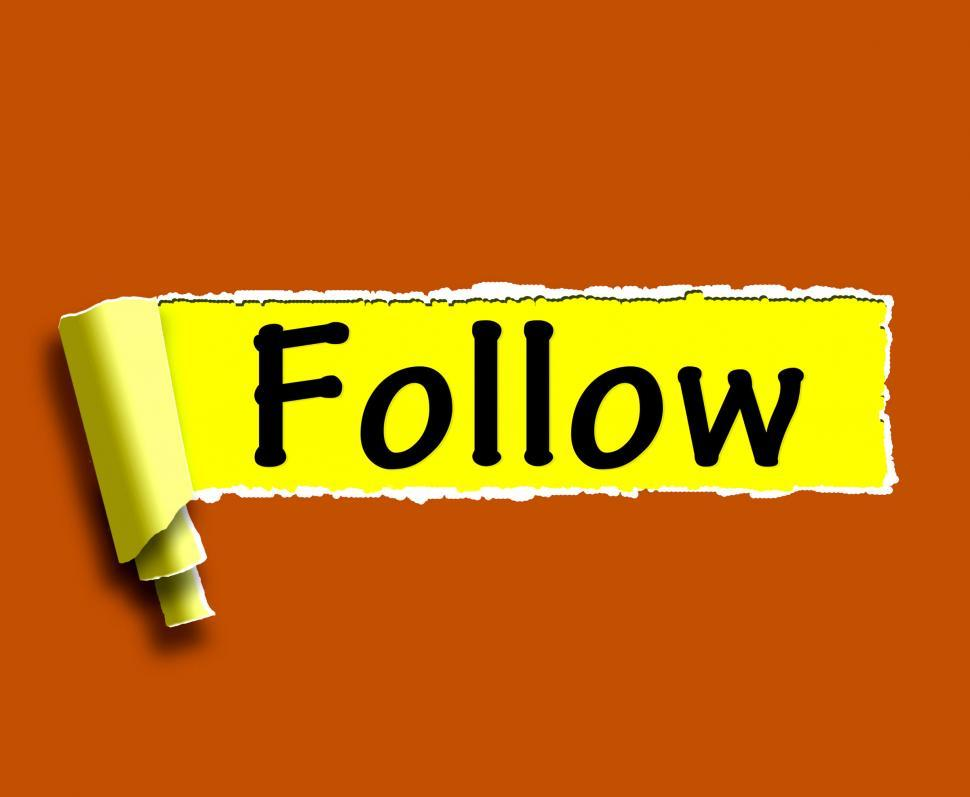 Download Free Stock Photo of Follow Word Means Following On Social Media For Updates