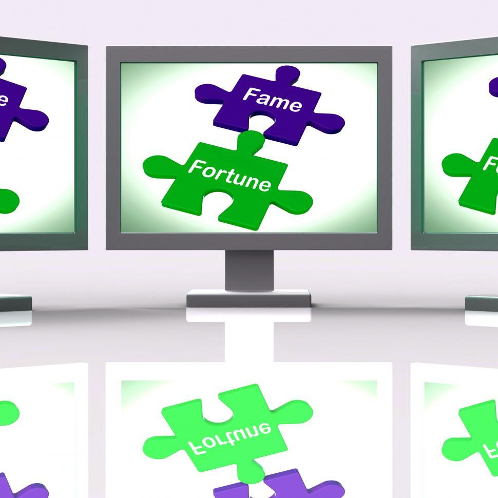 Download Free Stock HD Photo of Fame Fortune Puzzle Screen Shows Celebrity Or Well Off Online