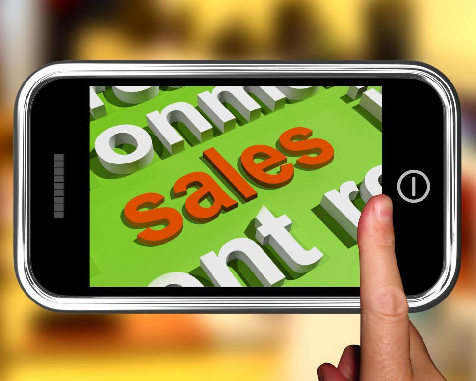 Download Free Stock Photo of Sales In Word Cloud Phone Shows Promotions And Deals