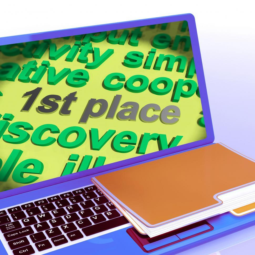 Download Free Stock Photo of First Place Word Cloud Laptop Shows 1st Winner Reward And Succes