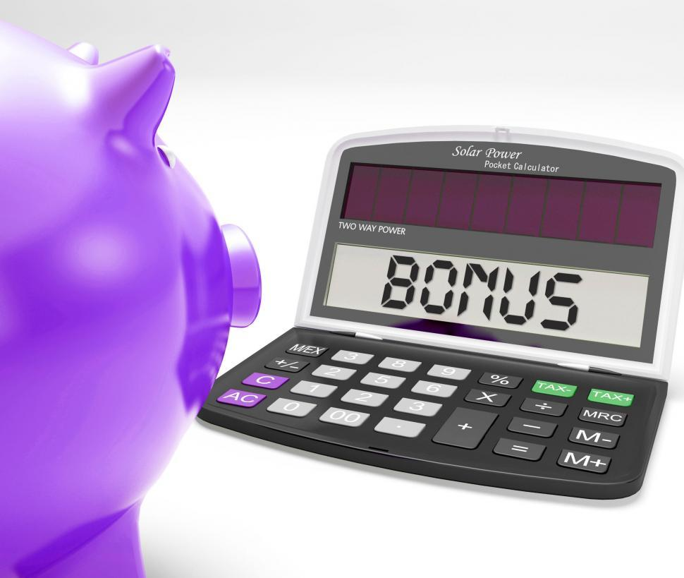 Download Free Stock Photo of Bonus Calculator Shows Perks Extra Or Incentive