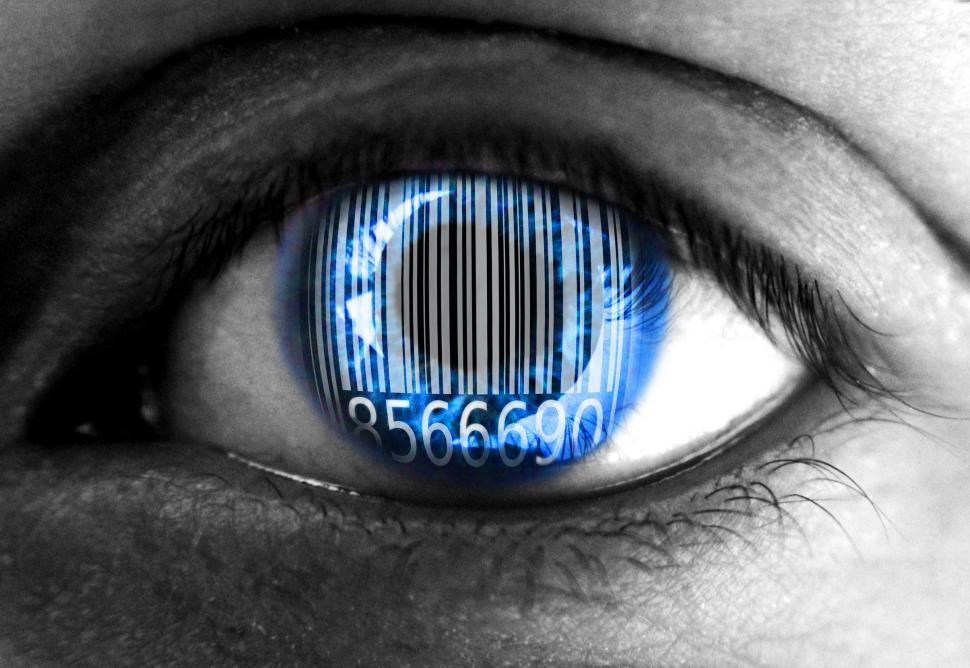 Download Free Stock HD Photo of Human eye with barcode - Big data concept Online