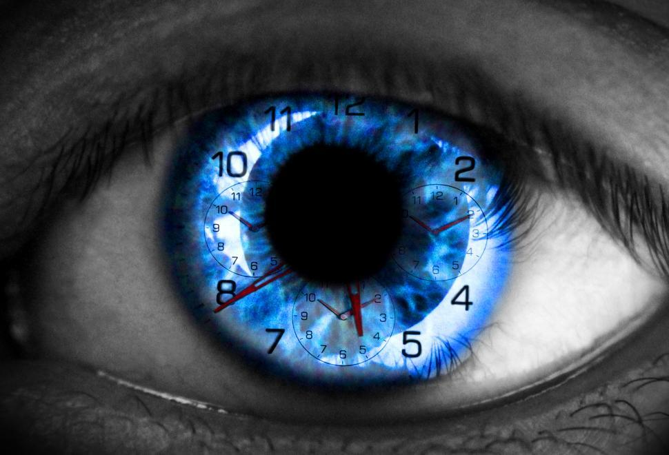 Download Free Stock Photo of Human eye with clock - Time concept