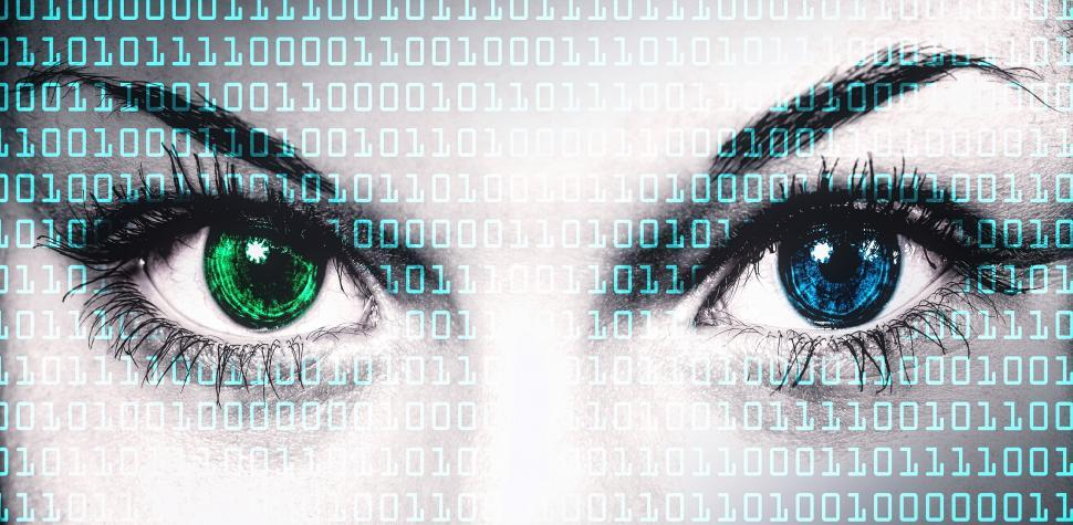 Download Free Stock Photo of Binary computer code on human face