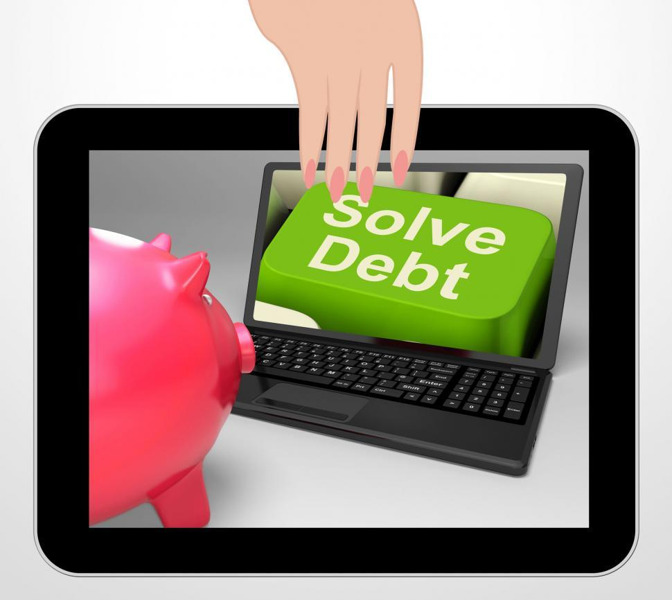 Download Free Stock Photo of Solve Debt Key Displays Solutions To Money Owing